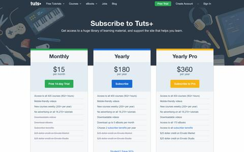Screenshot of Pricing Page tutsplus.com - Tuts+ Subscription Plans - captured Sept. 19, 2014
