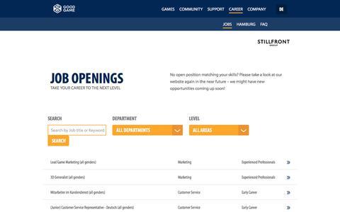 Screenshot of Jobs Page goodgamestudios.com - Job openings - Goodgame Studios - captured Jan. 14, 2020