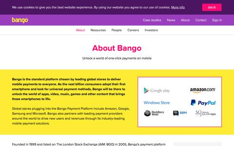 Screenshot of About Page bango.com - About Bango   Bango - captured Feb. 4, 2017