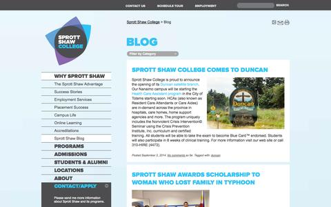 Screenshot of Blog sprottshaw.com - Blog | Sprott Shaw College - captured Sept. 24, 2014