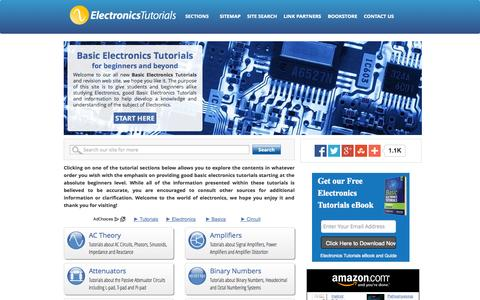 Screenshot of Home Page electronics-tutorials.ws - Basic Electronics Tutorials and Revision - captured Sept. 24, 2014