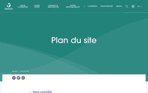 Screenshot of Site Map Page sanofi.com - Plan du site - Sanofi - captured Oct. 23, 2019
