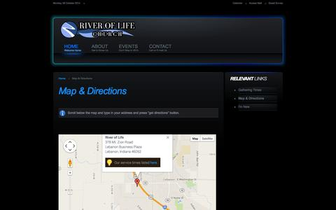 Screenshot of Maps & Directions Page lebanonriveroflife.com - River of Life - Map & Directions - captured Oct. 6, 2014