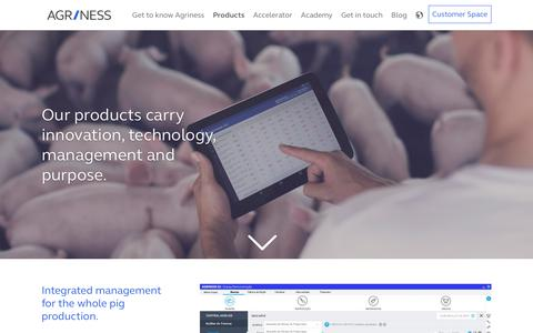 Screenshot of Products Page agriness.com - Products Agriness - captured July 29, 2018