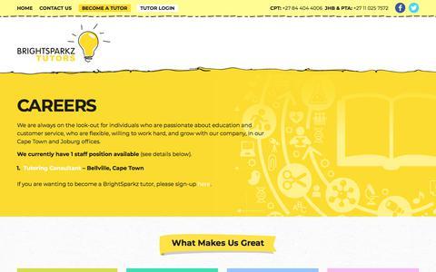 Screenshot of Jobs Page brightsparkz.co.za - Careers - BrightSparkz Tutors - captured Nov. 10, 2017