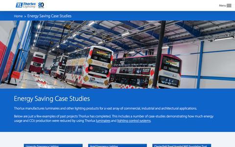 Screenshot of Case Studies Page thorlux.com - Energy Saving Case Studies   Thorlux Lighting Global - captured Dec. 23, 2016