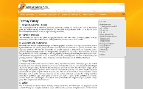 Screenshot of Privacy Page omanfinder.com - Contact & Services » Privacy Policy: Omanfinder.com - captured Nov. 3, 2014