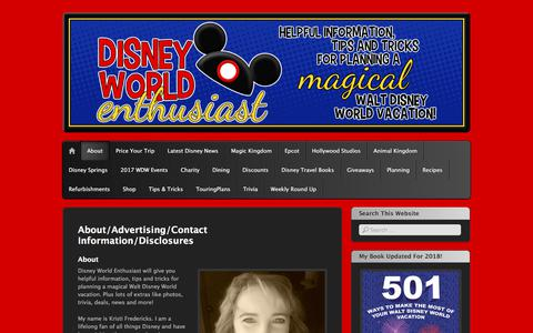 Screenshot of About Page disneyworldenthusiast.com - About/Advertising/Contact Information/Disclosures | Disney World Enthusiast - captured Feb. 3, 2018