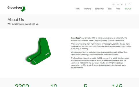 Screenshot of About Page Contact Page greensocs.com - GreenSocs - About Us - captured July 19, 2016
