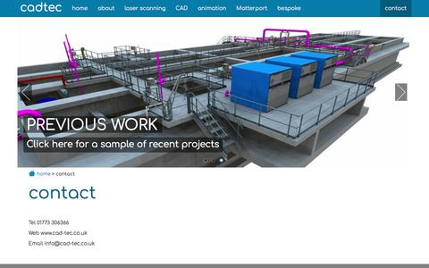 Screenshot of Contact Page cad-tec.co.uk - cadtec - 3D laser scanning and CAD services in the UK - captured Oct. 25, 2017