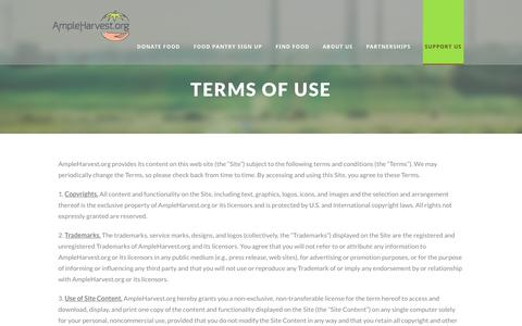 Screenshot of Terms Page ampleharvest.org - Terms of Use - AmpleHarvest.org - captured Oct. 3, 2018