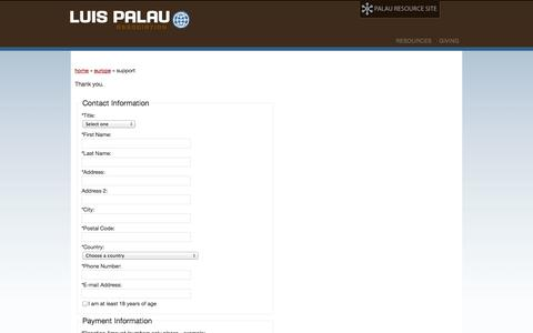 Screenshot of Support Page palau.org - Luis Palau Association » Support - captured Oct. 3, 2014
