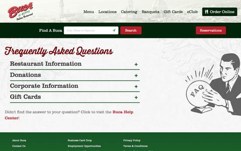 Screenshot of Contact Page bucadibeppo.com - Frequently Asked Questions - captured June 3, 2017