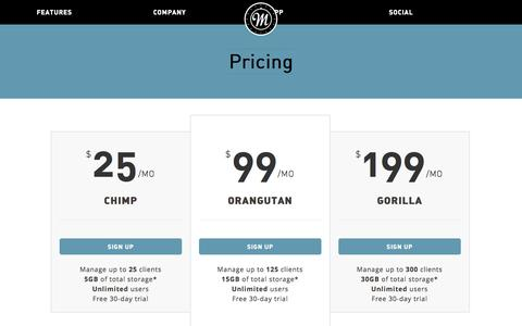 Screenshot of Pricing Page monkeybox.com - Pricing | Monkey Box - captured Oct. 7, 2014