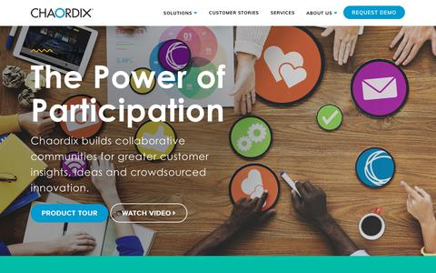 Screenshot of Home Page chaordix.com - Chaordix | Crowdsourcing software, for co-creation & open innovation - captured Feb. 17, 2018