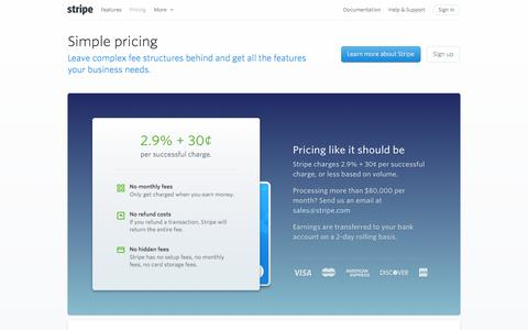 Screenshot of Pricing Page stripe.com - Stripe: Pricing - captured Sept. 17, 2014