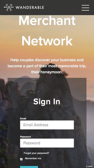 Merchant Network Sign In | Wanderable