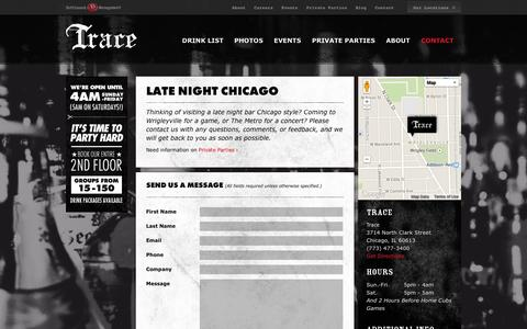 Screenshot of Contact Page tracechicago.com - Late Night Bar Chicago – 4am Bars Chicago | Trace Chicago - captured Oct. 6, 2014
