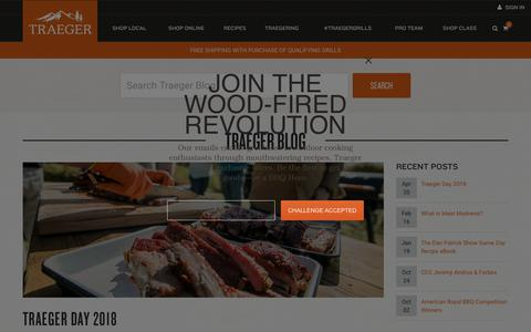 Screenshot of Blog traegergrills.com - Traeger Blog & Events   Traeger Wood Fired Grills - captured Nov. 2, 2018