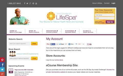 Screenshot of Login Page lifespa.com - My Account - Dr. Douillard's LifeSpa - captured Sept. 18, 2014