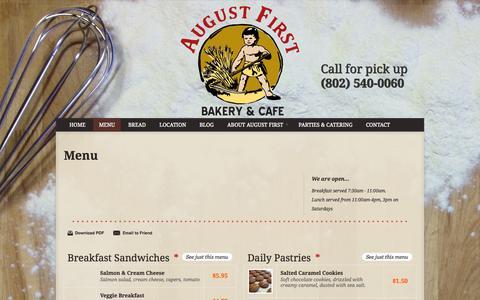 Screenshot of Menu Page augustfirstvt.com - Menu - August First Bakery - captured Oct. 4, 2014