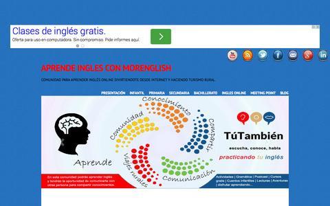Screenshot of Home Page morenglish.es - Aprende inglés gratis online. - captured Sept. 26, 2014