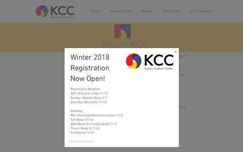 Screenshot of About Page koreancc.org - Korean Culture Center in New York | Language Program| Art Space  | About - captured Oct. 16, 2018