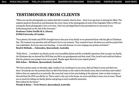 Screenshot of Testimonials Page kevinevans.com.au - TESTIMONIES from Clients of Kevin Evans - captured Sept. 20, 2018