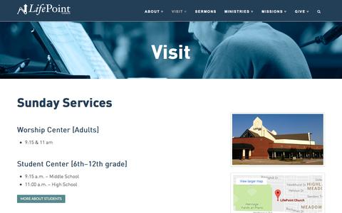 Screenshot of Maps & Directions Page lifepointplano.org - Plano Church Campus, Contemporary Services | LifePoint Church Plano - captured Nov. 9, 2016