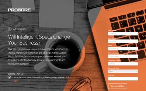 Screenshot of Landing Page procore.com - Will Intelligent Specs Change Your Business? - captured May 26, 2016