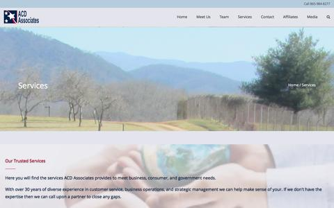 Screenshot of Services Page acdassociates.com - Services ACD Associates | SDVOSB | Consulting | Cloud | Web | SEO - captured May 28, 2017