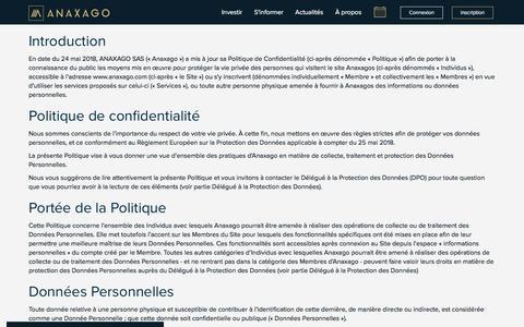 Screenshot of Privacy Page anaxago.com - Politique de Confidentialité | Anaxago - captured July 30, 2018