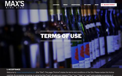 Screenshot of Terms Page maxswinedive.com - Terms of Use – Max's Wine Dive - captured Sept. 20, 2018