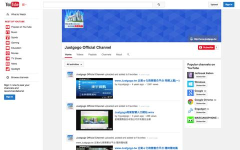 Screenshot of YouTube Page youtube.com - Justgogo Official Channel  - YouTube - captured Oct. 23, 2014