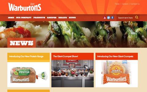 Screenshot of Press Page warburtons.co.uk - Warburtons News | Warburtons Family Bakery - captured Dec. 12, 2016