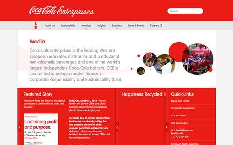 Screenshot of Press Page cokecce.com - Coca-Cola Enterprises      : Media - captured Oct. 28, 2015