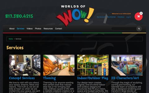 Screenshot of Services Page worldsofwow.com - Services - captured Nov. 30, 2016