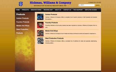 Screenshot of Products Page hicwilco.com - Products | Hickman, Williams & Company - captured Oct. 2, 2014