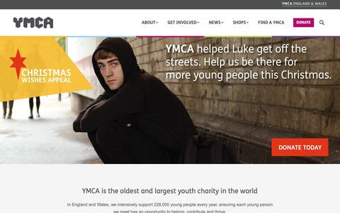 Screenshot of Home Page ymca.org.uk - YMCA England & Wales - Inspiring young people to reach their full potential - captured Nov. 11, 2018