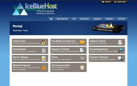 Screenshot of Support Page icebluehost.com - Support Portal ~ Everything you need to manage your service & request support - captured Jan. 8, 2016