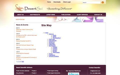 Screenshot of Site Map Page desertsci.com - Site Map - captured Oct. 5, 2014