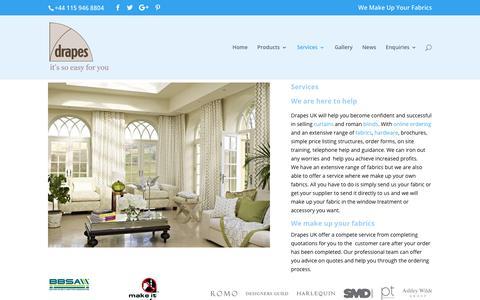 Screenshot of Services Page drapes-uk.com - Services | Drapes-UK - captured Nov. 6, 2018