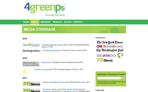 Screenshot of Press Page 4greenps.com - MEDIA COVERAGE | 4 Green Ps - captured Dec. 19, 2016