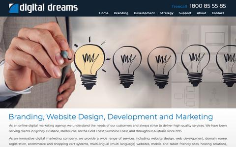 Screenshot of Home Page digitaldreams.com.au - Branding, Web Design, Development and Marketing | Digital Dreams - captured Nov. 6, 2018