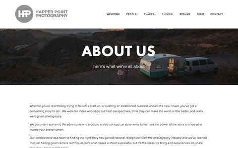 Screenshot of About Page harperpoint.com - About Us — Harper Point Photography - captured Oct. 26, 2016