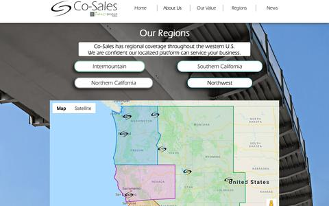 Screenshot of Maps & Directions Page co-sales.com - Regions | Co-Sales - captured Sept. 28, 2018