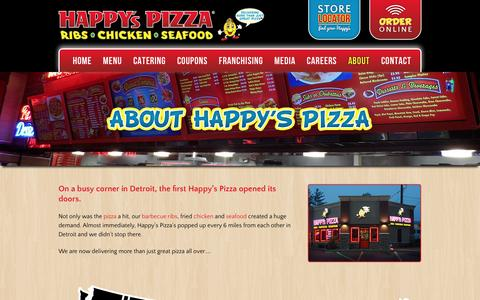 Screenshot of About Page happyspizza.com - Happy's Pizza - About Us - captured Dec. 7, 2015