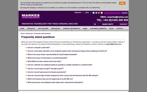 Screenshot of FAQ Page markes.com - Frequently asked questions - captured Oct. 4, 2014