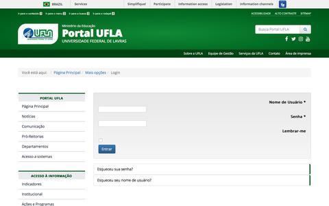 Screenshot of Login Page ufla.br - Login - UFLA - Universidade Federal de Lavras - captured Sept. 22, 2018
