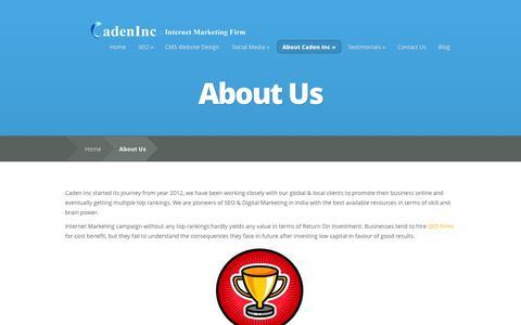Screenshot of About Page cadeninternetmarketing.com - Online Marketing Mumbai - Search Engine Optimization :: Caden Internet Marketing - captured Oct. 1, 2014